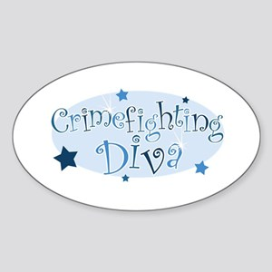 """Crimefighting Diva"" [blue] Oval Sticker"